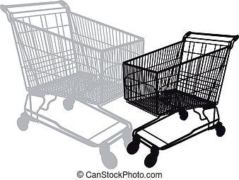 shopping cart, vector - shopping cart silhouette, vector ...