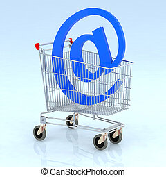 shopping cart with @