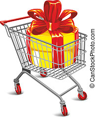 Shopping cart with a great gift