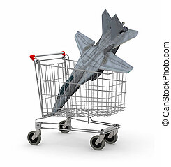 Shopping cart with a warplane inside