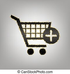 Shopping Cart with add Mark sign. Vector. Blackish icon with...
