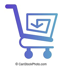 Shopping cart with arrow flat icon. Reload shopping trolley vector illustration isolated on white. Market cart with spiral arrow gradient style design, designed for web and app. Eps 10.
