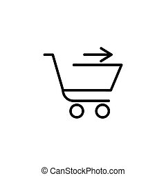 Shopping cart with arrow in the right