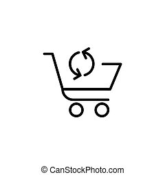 Shopping cart with arrow sign icon