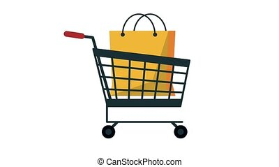 Shopping cart with bag HD animation