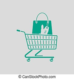 Shopping Cart With Bag Of Cosmetics Icon
