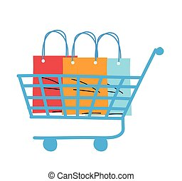 shopping cart with bags and packages