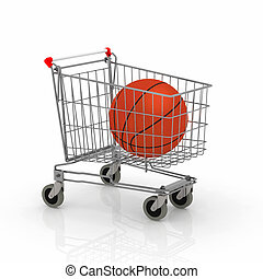 shopping cart with basket ball inside it