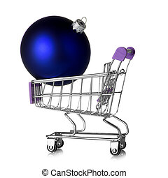 Shopping cart with beautiful blue christmas ball isolated on white