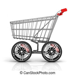 Shopping cart with big car wheel on the white background. Fast shopping concept. Trolley for auto parts.