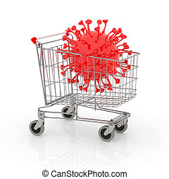 shopping cart with big coronavirus inside it