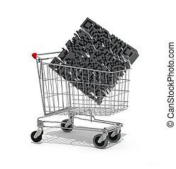 Shopping cart with big qr code inside