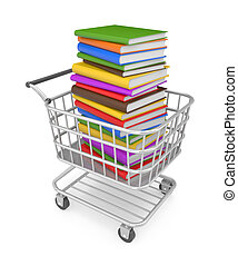 Shopping cart with book - Image contain the clipping path