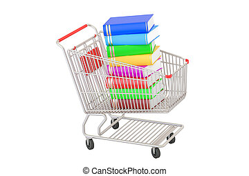 Shopping cart with books, 3D rendering