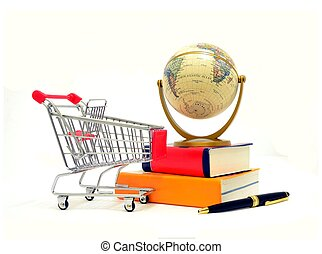 Shopping Cart with Books and Globe