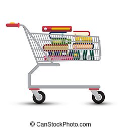 Shopping Cart with Books. Vector E-Book Store Symbol.
