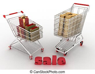 Shopping cart with boxes and dollars.