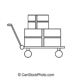 Shopping cart with boxes icon, outline style