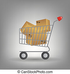 shopping cart with boxes icon vector illustration