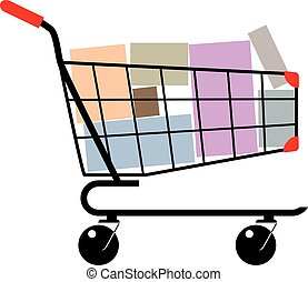 Shopping cart with boxes