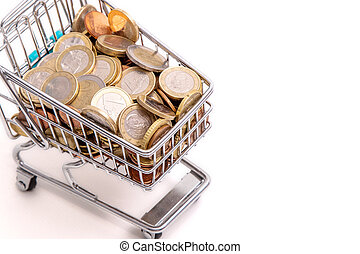 shopping cart with cash coins isolated on white background