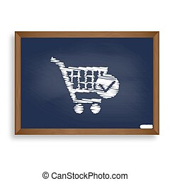 Shopping Cart with Check Mark sign. White chalk icon on blue...