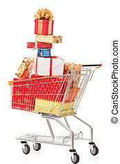 Shopping cart with Christmas gifts and presents
