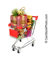 Shopping cart with Christmas gifts and presents.