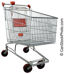 Empty shopping trolley issolated on white with clipping path