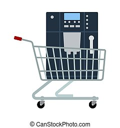 Shopping Cart With Cofee Machine Icon. Flat Color Design. Vector Illustration.