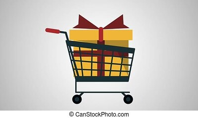Shopping cart with coin HD animation