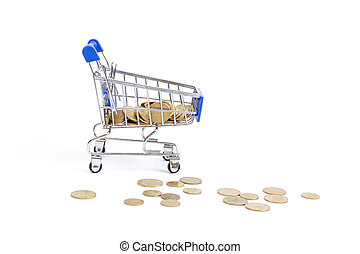 shopping cart with coins falling on a white background.