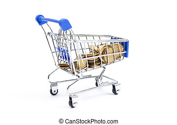 shopping cart with coins on a white background.