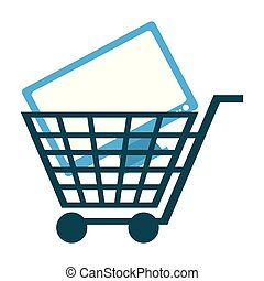 shopping cart with computer screen