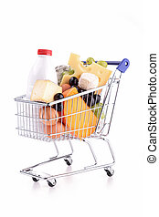 shopping cart with dairy product