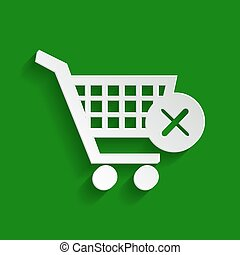 Shopping Cart with delete sign. Vector. Paper whitish icon with soft shadow on green background.