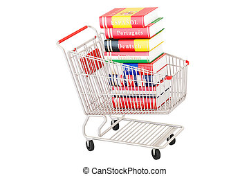 Shopping cart with dictionary books, 3D rendering