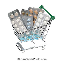 Shopping cart with different pills blister pack on an...
