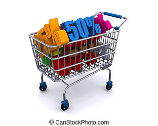 Shopping cart with discount prices - 3d render of a shopping...