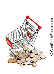 shopping cart with dollar coins