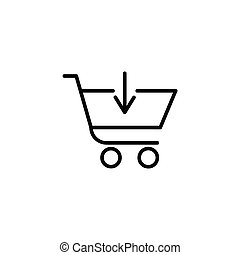Shopping cart with down arrow sign
