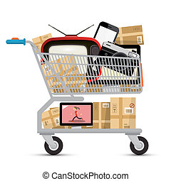 Shopping Cart with Electronic Devices and Parcels Isolated on White Background. Vector Black Friday Sale Symbol.