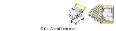 Shopping cart with euro bills next to basket full of fresh white eggs with dollar bills underneath. Isolated on white background. Eggs trading, shopping concepts. Banner. Copy space