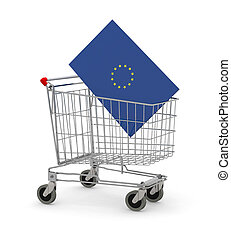Shopping cart with Europe Flag