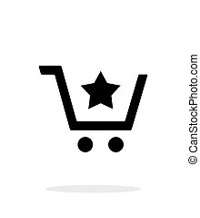 Shopping cart with favorites item simple icon on white background.