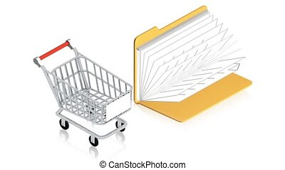 Shopping cart with folder - 3D animation of a simple objects...
