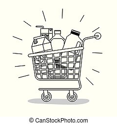 shopping cart with food purchases monochrome silhouette