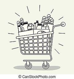 shopping cart with foods and drinks in bags monochrome silhouette