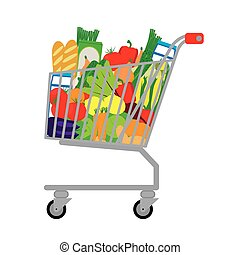 Shopping cart with fresh food.