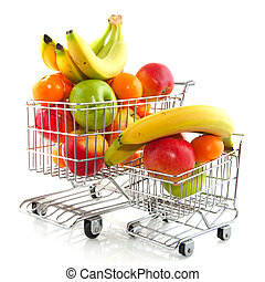 shopping cart with fruit - Shopping cart from the...